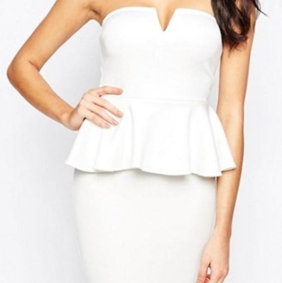 AX Paris strapless bandeau peplum dress in WHITE